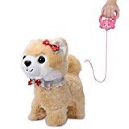 Shinehalo Hablar Caminar ladrido Perro Perrito de Juguete para Mascotas Perro de Peluche eléctrico Dog Juguetes interactivos con Remote Control Leash, Juguete de Regalo para niños pequeños (Marrón)
