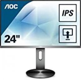 "AOC Monitores I2490PXQU/BT - Pantalla para PC de 23.8"" (resolución 1920 x 1080 pixels, tecnología FlickerFree y LowBlue, contraste 1000:1, 4 ms, HDMI, Displayport, Regulable en altura), Negro"