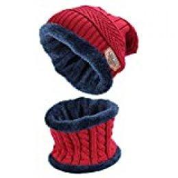 Ndier Conjunto De Bufanda Sombrero para Hombre y Mujer de Gorro de Invierno Unisex Sombrero Caliente de Punto Gorra Bufanda con Forro de Lana (Rojo)