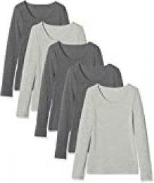 Maglev Essentials BDX011M5 Camiseta, Multicolor (Grey Mélange, Anthracite Mélange), XL, Pack de 5