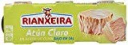 Rianxeira - Atún claro en aceite de oliva - Bajo en sal - 3 x 52 g - [Pack de 8]