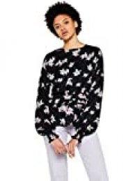 Marca Amazon - find. Blusa Floral con Volante Mujer, Negro (Black), 40, Label: M