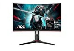"AOC CQ27G2U/BK- Monitor Gaming Curvo de 27"" QHD (2560x1440, 1ms, 144 Hz, VA, FreeSync, Altavoces, VESA, HDMI, VGA, Displayport, USB) Color Negro/Rojo"