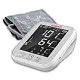 Monitor de Presión Arterial JUMPER en la Parte Superior del Brazo, 2 Usuarios, 2 Módulos de Fuente de Alimentación, 198 Memoria de datos, Gran pantalla LCD, Brazalete Ajustable Grande (Blanco)