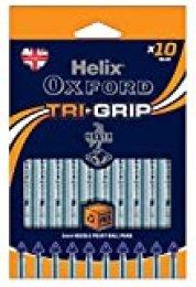 Oxford 224810 Helix TriGrip - Bolígrafos, 10 unidades, color azul