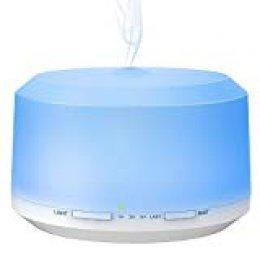 Difusor Aromaterapia, BAXiA Difusor de Aceites Esenciales 450ml Humidificador Ultrasónico Aromaterapia con Vapor Frío, 8-Color LED, 4 Temporizador, Auto-apagamiento para Hogar, Oficina, Bebé, Blanco
