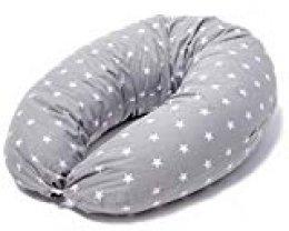 Cojin Lactancia Bebe & Almohada Embarazo Dormir | Funda Cojin 100% Algodon Color Gris con Estrellas Blancas, Desenfundable y Lavable | Relleno de Fibra Hueca de Poliéster Siliconado | Made in EU