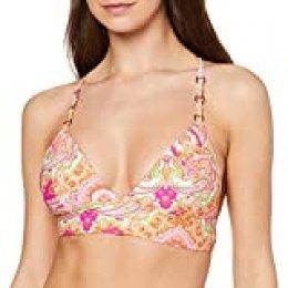 Seafolly Summer Chintz Fixed Tri Bralette Parte de Arriba de Bikini, Multicolor (Chaloupe Cantaloupe), 85B (Talla del Fabricante: 10) para Mujer