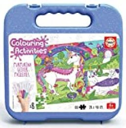 Educa- Colouring Activities Puzzle de 100 Piezas para Colorear Unicornios Glitter, con Purpurina, a Partir de 4 años (18066)