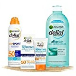 Garnier Delial Kit de Protección Deporte: Protección Facial UV Gel Hidratante IP50+, Bruma protectora IP50+ UV Sport y Leche Hidratante Calmante After Sun - Gel 50 ml, Bruma 200 ml, After Sun 400 ml