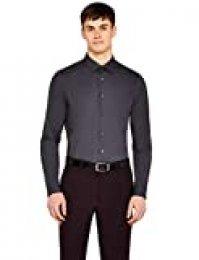 Marca Amazon - Hem & Seam Slim Fit Solid, Camisa de Oficina para Hombre, gris oscuro, 41 cm, Label: L