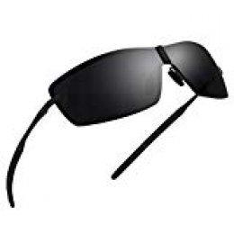 NWOUIIAY Gafas de Sol de Moda Hombre Deportivas de Lentes Polarizadas para Bloquear 100% de las Radiaciones Dañinas UVA, UVB y UVC Lentos de Sol de Marco de Aluminio de Aleación de Magnesio