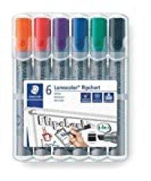 Staedtler Lumocolor 356 B WP6. Rotuladores de colores para flipchart. Estuche con 6 marcadores de colores variados.