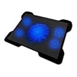 Woxter Cooling Pad 1560 R – Base refrigeradora para portátiles, 5 ventiladores desconectables, luz led azul y 2 puertos USB, especialmente diseñado para gamers, (silencioso 30dBA, base iluminada, alimentado por USB, control de vel