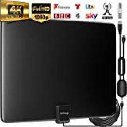 Biling Antena TV Interior- Antena TV portátil HD TV Digital 120 Millas con Amplificador de señal Inteligente para Canales de TV gratuitos Soporte 4K 1080 HD/VHF/UHF, Apto para Todos los Tipos de TV