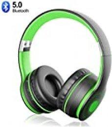 Sunvito - Auriculares Bluetooth 5.0 inalámbricos, plegables, con micrófono, reproductor MP3, radio FM, inalámbricos y auriculares Nero+Verde
