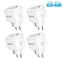 AWOW Enchufe Inteligente 16A 3680W, 2.4GHz Wifi Smart Plug con Control Aplicaciones y de Voz, Función de Temporizador, Compatible con Amazon Alexa y Google Home (Paquete de 4)