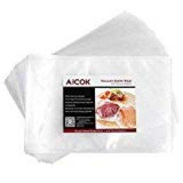 Aicok Bolsas Envasado al Vacío, 50 Piezas 20x30 cm, Bolso en Relieve para Conservación de Alimentos y Cocción al Vacío Ideal para Cocina, Bolsas de Aluminio Bolsas de Vacío Profesional para Alimentos