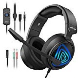 Mpow Elfo Nocturno Auriculares Gaming PS4, Cascos Gaming con Micrófono Reducción para PS4 Xbox One Nintendo Switch PC, Auriculares Gaming con LED 3.5mm, Control de Volumen con Adaptador