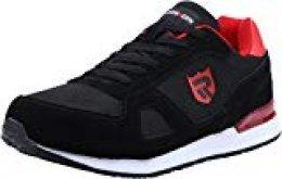 Zapatos de Seguridad para Hombre con Puntera de Acero Zapatillas de Seguridad Trabajo, Calzado de Industrial y Deportiva LM-123k Negro Reflexivo 41 EU