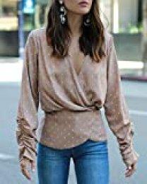 The Drop Blusa de corte peplum con cuello de pico en pardo con lunares blancos para mujer por @paolaalberdi, S
