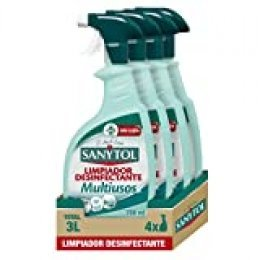 Sanytol - Limpiador Desinfectante Multiusos en Spray, Todas las Superficies, sin Lejía - Pack de 4 x 750 ml