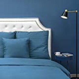 Homfy - Juego de funda de edredón 100% de algodón lavado, con fundas de almohada, hipoalergénico y ultrasuave, aspecto arrugado natural, algodón, azul marino, Super King (220x260cm+2x75x50cm)