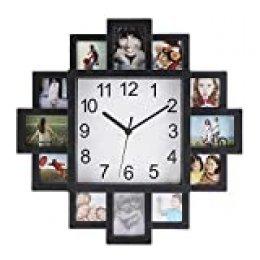 Relojes de pared, Reloj de pared cuadrado que rodea con 12 marcos de fotos de diferentes tamaños para la decoración del patio del hogar