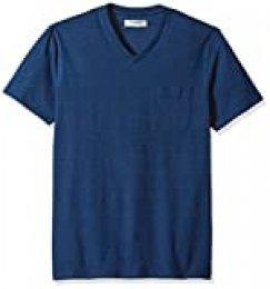 Marca Amazon - Goodthreads - Camiseta de manga corta para hombre, con bolsillo y cuello en V, color índigo