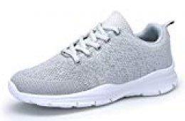 DAFENP Zapatos Zapatillas Running Deporte Mujer Sneakers Unisex,XZ747-M-gray-EU36