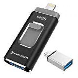 Unidad Memoria Flash USB 3.0 64 GB Memoria Lápiz Drive OTG PHICOOL [4 en 1] con Type C Conector USB Mirco Expansión de Memoria para iPhone, iPad, Android, PC - Negro