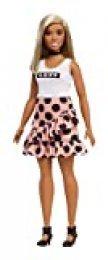 Barbie Fashionista - Muñeca con pelo liso y falda con volantes (Mattel FXL51)