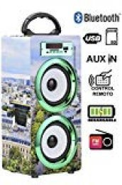DYNASONIC Altavoz Bluetooth Portatil 10W, Reproductor mp3 inalámbrico portátil, Lector USB SD, Radio FM - Modelo 020-5