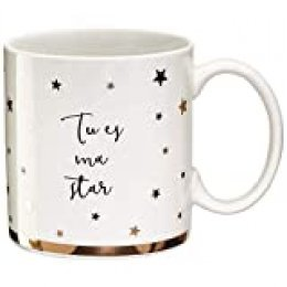 LA CARTERIE 76000539tu es ma Star Taza Porcelana Negro/Oro 11,6x 9,5x 8,2cm