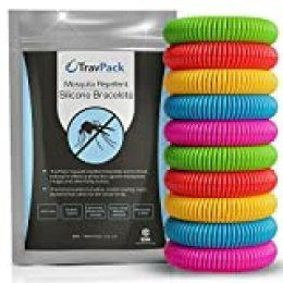 Pulseras antimosquitos TravPack (x10)- Repelente de Insectos Líder en el Mercado, Duración de 250 Horas por Pulsera. Pulseras repelentes de mosquitos - el repelente de mosquitos que realmente funciona