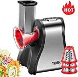 Tibek - Picadora eléctrica de cocina de 200 W, rallador eléctrico con 5 accesorios y amplio tubo de alimentación para picar / cortar / mezclar alimentos (queso / cebollas / Pesto ensalada / zanahoria)