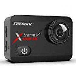 Campark X30 Cámara Deportiva 4K/60fps WiFi 20MP Pantalla Táctil EIS Camara Acuatica Sumergible Agua de 40M con 2×1350mAh Baterías y Cargador, Múltiples Accesorios Kit Compatible con gopro