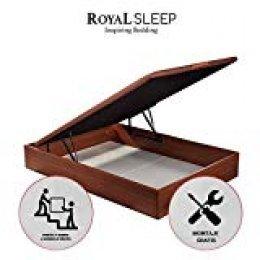ROYAL SLEEP Canapé Abatible (105x190) de Gran Capacidad, Tapa 3D Transpirable, Color Cerezo