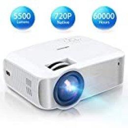 "TOPVISION Proyector Cine en Casa de 5500 Lúmenes,720P Nativa Mini Proyector Portátil Soporte 1080P Full HD, Proyector LED de 60000 Horas con Pantalla Máx de 240"",Compatible con HDMI/VGA/USB/AV/SD"