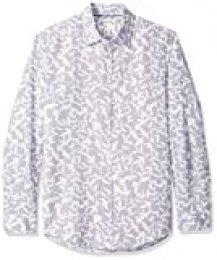 Amazon Essentials - Camisa de lino con manga larga, corte entallado y estampado para hombre, Lavendar Leaf Print, US S (EU S)