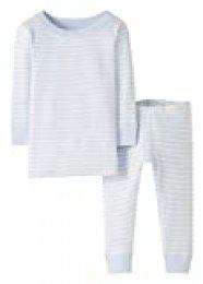 Moon and Back de Hanna Andersson - Conjunto de pijama de 2 piezas de manga larga, hecho de algodón orgánico y con diseño a rayas para bebé, Raya azul claro, 4 años (97-107 CM)