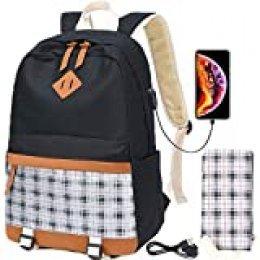Mochilas Escolares de Lona para niñas Mochilas Escolares para Adolescentes Mochilas para Mujeres Mochilas para computadora portátil con Puerto de Carga USB