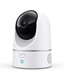 eufy 2K cámara IP wifi de vigilancia para interiores, cámara de seguridad pan-tilt enchufable, reconocimiento de personas, con asistente de voz, sensor de movimiento, HomeBase No es necesario