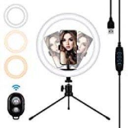 "MOHOO 10"" Aro de Luz Anillo de Luz LED 3 Colores 10 Brillos Regulables Control Remoto Aro de Luz con Trípode Soporte de Teléfono Aro de luz para movil para Youtube, Maquillaje, Selfie, TIK Tok"