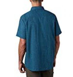 Columbia Under Exposure Camisa de Manga Corta Yarn Dye, Hombre, Azul (Azul (Collegiate Navy) Plaid), M