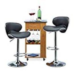 Relaxdays Taburete Alto Cocina Regulable, Metal-Piel Sintética, Negro, 100 x 46 x 50 cm, 2 Unidades, Acero