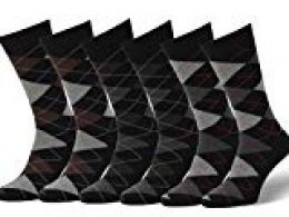 Easton Marlowe 6 PR Calcetines Estampados Hombre Argyle - 6pk #2-9, argyle - negro, 43-46 EU shoe size