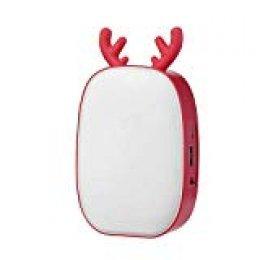 Ltteny Lámpara de Mesa USB, Lámpara de Noche Multifuncional pequeña y linda ciervos, Banco de Energía Función, luz de lectura portátil para niños (rojo)