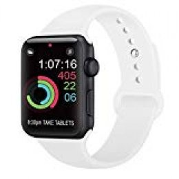 AK Compatible con para Apple Watch Correa 42mm 38mm 44mm 40mm, Silicona Blanda Deporte de Reemplazo Correas Compatible con para iWatch Series 4, Series 3, Series 2, Series 1 (05 White, 42/44mm S/M)