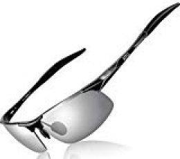 ATTCL Hombre Gafas De Sol Deportes Polarizado Súper Ligero Al-Mg Marco De Metal 8177 Black-Silver